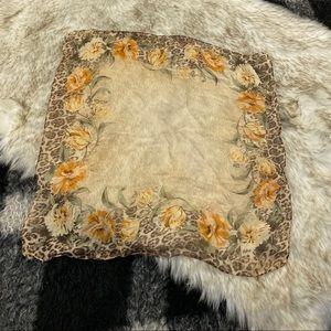 Vtg 50s 60s floral border semi sheer scarf bandana